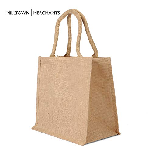 Jute Burlap Tote Bags - Natural Burlap Bags with Cotton Handles - (12 Pack/Medium) - Reusable Tote Bags with Laminated Interior - Shopping Bag/Grocery Bag/Gift Bag