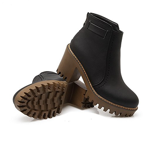 Heels Soft Round Black AgooLar Material Boots Toe Solid Women's High Low top Closed qSpxwnXFZY