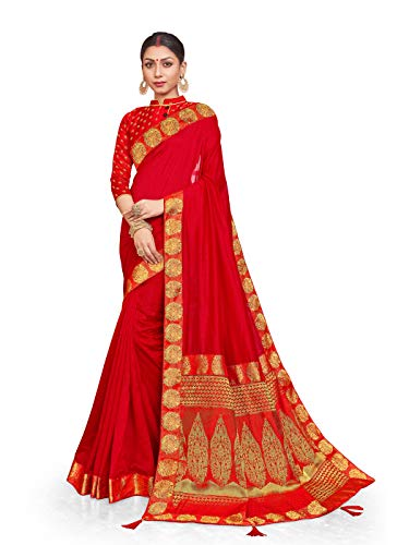 Sarees for Women Crepe Silk Woven Saree l Indian Ethnic Wedding Gift Sari with Unstitched Blouse Red