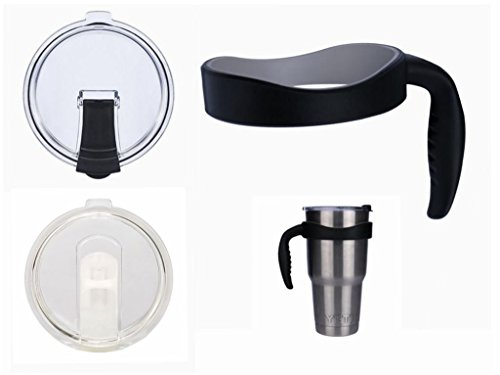 YOLOPLUS 1 Attachable Cup Handle Holder and 2 Cup Cover Spill and Leak Proof Lids For Yeti 30 oz Rambler Tumbler Stainless Steel,RTIC, SIC,Ozark Trail Mug (NEW BLACK SET)