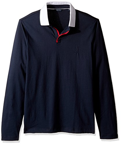 Nautica Men's Long Sleeve Solid Johnny Collar Polo Shirt, True Navy, Large