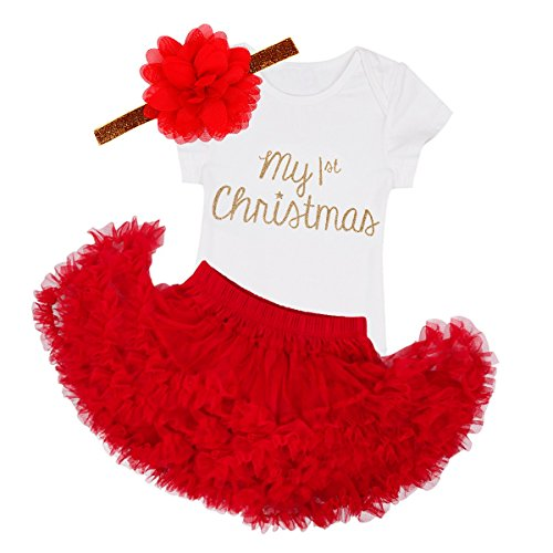 TiaoBug Baby Girls Christmas Romper with Tutu Skirt Headband Outfits White&Red 18 Months