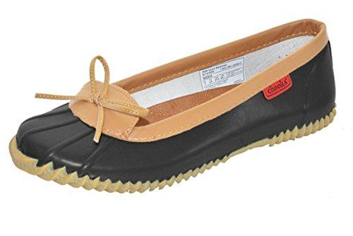 Chooka Womens Duck Skimmer Black Rain Flats 6 M