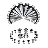 36 Pcs Stretching Kit Surgical Steel Acrylic Taper Kit with Eyelet Ear Expanders Set 14G-00G(Silver)