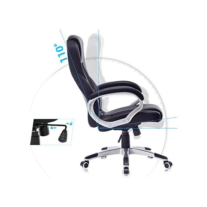 416k6m11f9L Alta estabilidad y larga duración: las partes importantes (como reposabrazos, ruedas, resortes de gas, etc.) han sido mejoradas y han superado la BIFMA (BIFMA). Con un diámetro de la base en cruz de aprox. 70 cm garantiza una excelente estabilidad y verificado por SGS. La silla de oficina es resistente y duradera. Máx. Capacidad de carga: 150 kg. Altura total: 112-122 cm. Altura del respaldo: aprox. 74 cm. Ancho del asiento: aprox. 54 cm. Profundidad: aprox. 50 cm. Altura del asiento regulable: aprox. 44-54 cm. Altura desde el reposabrazos hasta el suelo: aprox. 68-78 cm. Diámetro de la base: aprox. 70 cm. Material de alta calidad: la superficie de poliuretano de alta calidad es agradable al tacto y fácil de limpiar. El acolchado extra grueso permite un confort óptimo y promete una buena elasticidad y un mejor ajuste. No se deforma fácilmente.