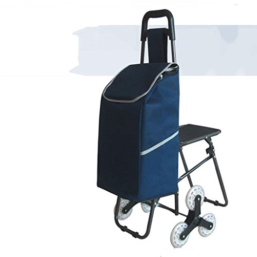 YD trolley Shopping Travel Hand Truck Climb The Stairs Collapsible With Chair Shopping Cart The Elderly Shopping Cart Lever Car Trolley @ (Color : 1) by YD trolley