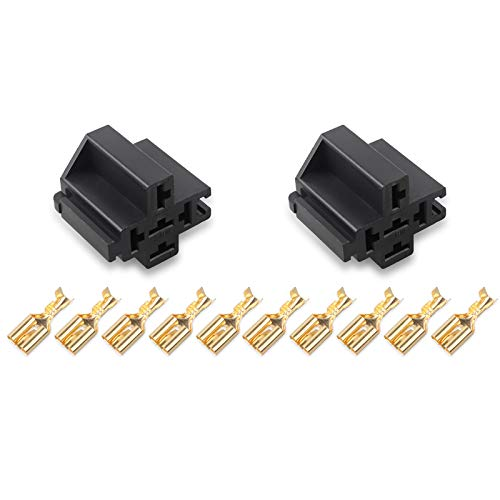 Ehdis 30A /40A 5 Pin Relay Connector Socket with 5 x 6.3mm Terminals, Car Truck Vehicle Relay Case Holder, Pack of 2