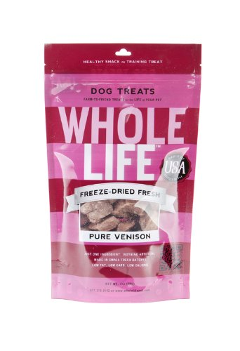Whole Life Pet Products Pure Meat All Natural Freeze Dried Venison Treats for Dogs, 2-Ounce, My Pet Supplies