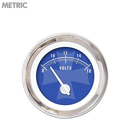 White Modern Needles, Chrome Trim Rings, Style Kit Installed Aurora Instruments 5287 Iron Cross Blue Metric Volt Gauge