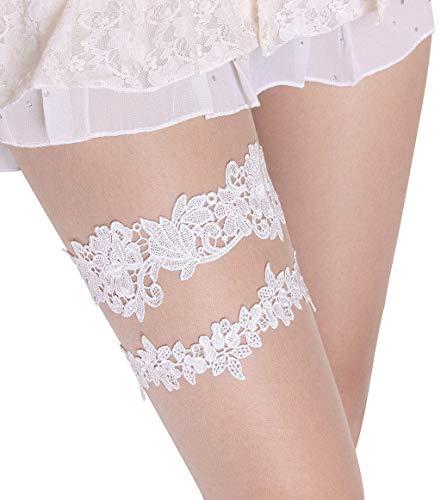 Wedding Garters for Bride Garter Set for Bride Wedding Garter Belts Lace Bridal Garter 2 Piece Plus Size (White, L)]()
