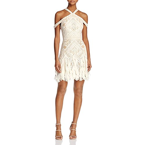BCBG Max Azria Womens Leighann Lace Halter Cocktail Dress Ivory 6 (Party Bcbg Dress)