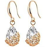 Myhouse Retro Crystal Water Drop Shape Pendant Hollow Flowers Earrings for Women,Gold Color