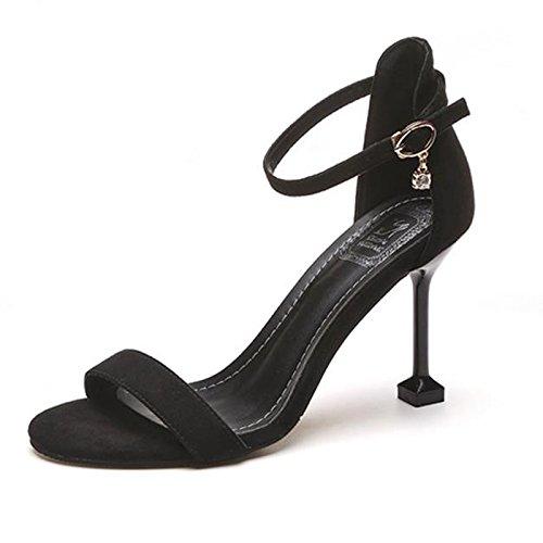 Metal Fino Los Eu37 Trabajar Dew Zapatos Toe De High Con De Sandalias Negros Heel Zapatos Hebilla Mujeres SHOESHAOGE EU34 Para O6xC4Cd