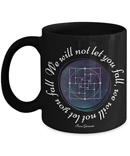We will not let you fall - enlightening spiritual meditation yoga gift mug by Pure Genesis black coffee cup