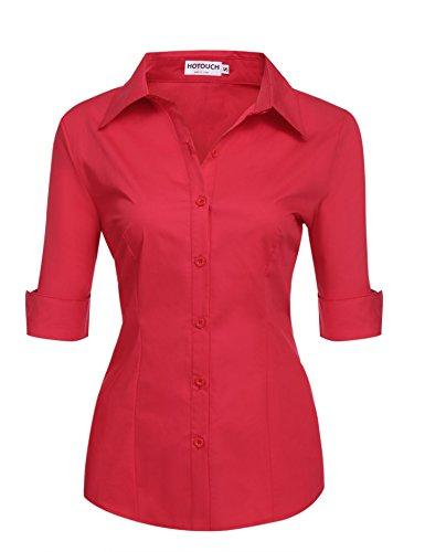 Hotouch Women 32 Singles Short Sleeve Twill Button Down Dress Shirt (Red S)