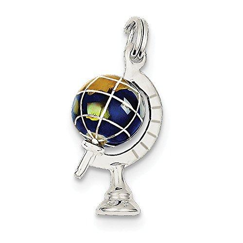 Enameled Globe Charm - Sterling Silver Blue Enameled Globe Charm