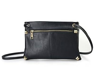 Womens Cross Body Purses With Studded Zipper Front Pocket, Slim Travel Bag
