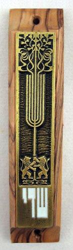 Lion of Judah Olive Wood Mezuzah + Kosher Shema Parchment Scroll