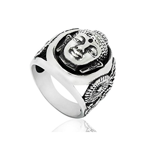 Adisaer Ring Stainless Steel for Men Vintage Finger Rings Buddhism Buddha Head Face Silver Black Size 11