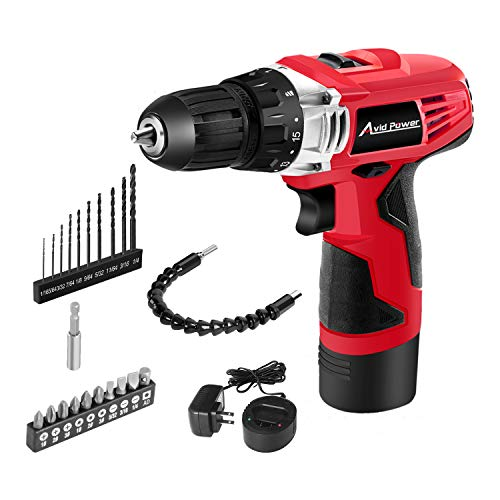 Avid Power 12V Cordless Drill, Power Drill Set with 3/8″ Keyless Chuck, 2 Speed, 15+1 Position and LED Light, 22pcs Drill/Driver Bits Included, ACD306