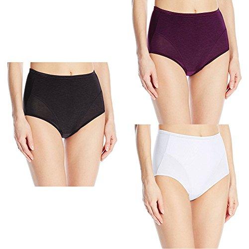 Comfort Stretch Microfiber Brief (Vanity Fair Women's Smoothing Comfort illumination Brief Panty 13263, Midnight Black/Sangria/Star White, 2X-Large/9)
