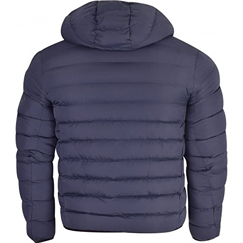 Padded Soft Navy Zip Hooded Faux Brave Jacket Soul Blue Neck Puffer Down Quilted Coat Bubble Mens xOwtE