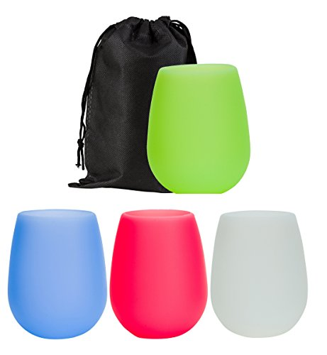 Silicone Wine (Wealers Multi-colored Stemless Silicone Wine Cup or Beer Glasses | Unbreakable & Dishwasher Safe with Handy Carry Bag - Great for Outdoors, While Camping, At Home & More (Assorted, 4 Pack))