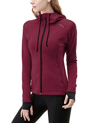 TSLA TM-FKJ04-MAR_Small Women's Lightweight Active Performance Full-Zip Hoodie Jacket FKJ04