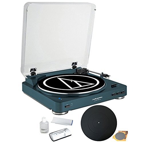 (Audio-Technica Wireless Belt-Drive Stereo Turntable with Vinyl Record Cleaner Kit, Navy + Silicone Rubber Universal Turntable Platter Mat)