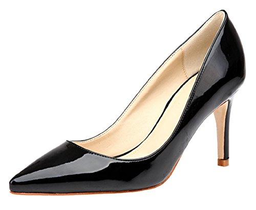 HooH Women's Pointed Toe Stiletto Dress Pumps 0017 black(heel:8cm) tgv7CkxT