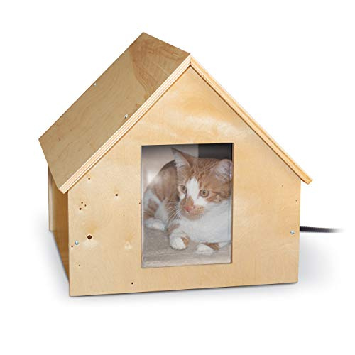 K&H Pet Products Birchwood Manor Outdoor Thermo-Kitty Home (Heated) Natural Wood 18