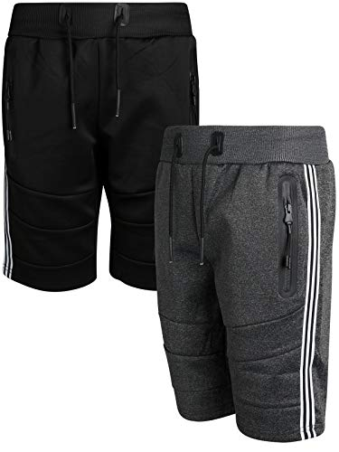 XS Sport Boys Athletic-Tech-Fleece Active Performance Shorts (2-Pack), Black/Charcoal Taping, Size ()