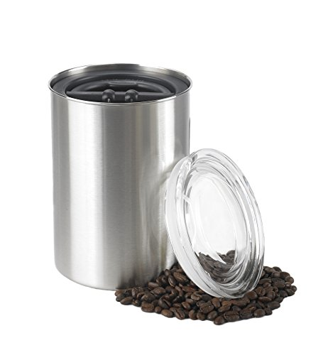 Airscape Coffee and Food Storage Canister, 64 oz - Patented Airtight Lid Preserves Food Freshness - Stainless Steel - Brushed Steel (Coffee Airtight)