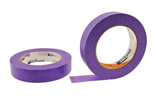 2pk of 1'' in x 60yd Neon Purple Masking Tape Extra Sticky PRO Grade High Stick Special Project Painters Tape Painting Trim Arts Crafts School Home Office 21 Days 24MM x 55M .94 inch by SureStick