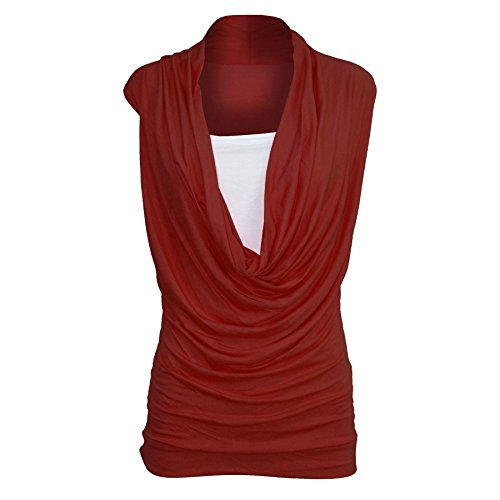 Oops Outlet Women's Ruched Cowl Neck Vest 2 in 1 Sleeveless Jersey Tank Top M/L (US 8/10) Wine