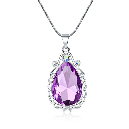 Vinjewelry Amulet Crystal Teardrop Pendant Necklace Princess Costumes Jewelry Birthday Gift for Girls