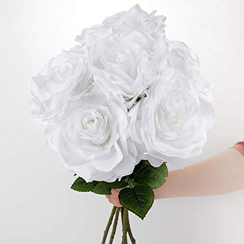 6 Artificial White Roses, 6