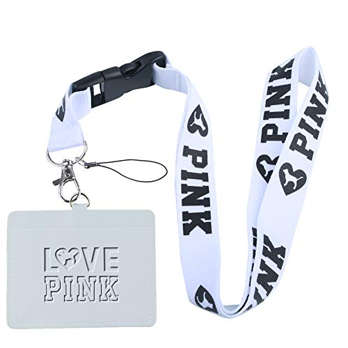Love Pink White Faux Leather Business ID Badge Card Holder with (White with Black Bold) Keychain Lanyard