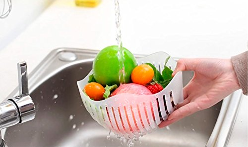 Salad Cutter Bowl + FREE 3 in 1 Avocado Peeler Tool  Fruit & Vegetable Quick Chopper Set, Veggie Slicer   Can Be used as Strainer and Cutting Board   Dishwasher Safe, BPA Free, Food Grade Material by toshi's kitchen (Image #3)