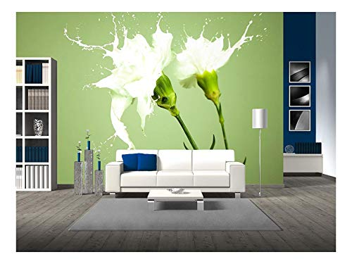 (wall26 - White Flowers with Milk Splash on Green Background - Removable Wall Mural | Self-Adhesive Large Wallpaper - 100x144 inches)