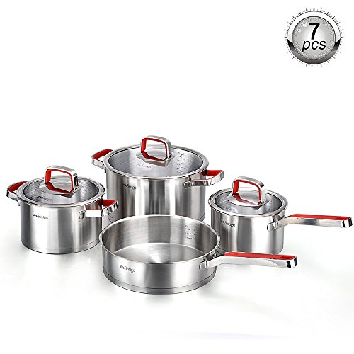 New 2018 German Technology Solige Stainless Steel Cookware 7-piece set with Heat Resistant handles with Red Anti-Slip Silicone Review