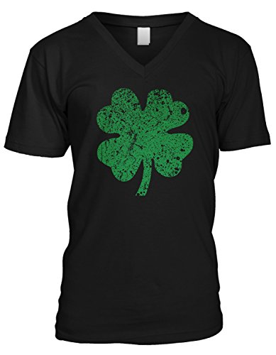 Amdesco Men's Faded Green 4 Leaf Clover, ST Patricks Day V-Neck T-Shirt, Black (Faded Black T-shirt)