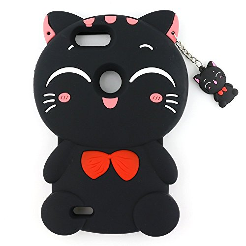 ZTE Blade Zmax Pro 2 Case , ZTE Sequoia Soft Cover , ZTE Z982 Phone Shell , 3D Cat Silicone Rubber Phone Case For ZTE Blade ZMax Pro 2 / Z982 (Black Lucky Cat)