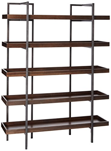 Ashley Furniture Signature Design - Starmore Bookcase - 5 Fixed Shelves - Contemporary - Blackened Gunmetal Frame - Rustic Brown Finished ()