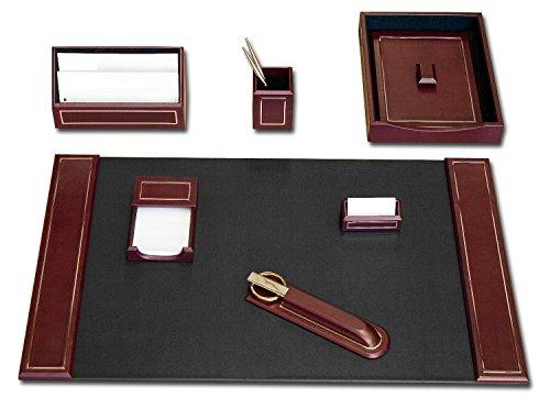 Burgundy Leather 24kt Gold-Tooled 7-Piece Desk Set - Burgundy Leather Holder Memo