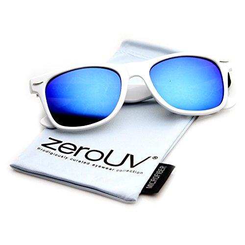 57a1c5b09a zeroUV 8025 Retro Matte Black Horned Rim Flash Colored Lens Sunglasses