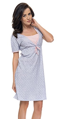 TCB Comoda Grigio In Colori Di Maternita Camicia dn 4044 Moda Da Alla nightwear Notte Chiaro SfxFwgnq