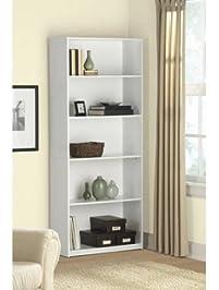5 Shelf Wood Bookcase   White