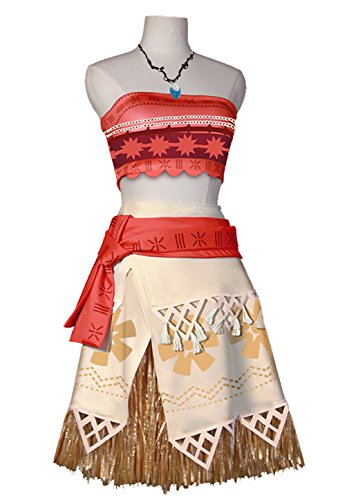 Angelaicos Natives Polynesian Princess Costume Dress Necklace for Adult Kids (M, Adult Size) (Adult M&m Costumes)