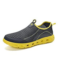 Men Mesh Athletic Walking Shoes Quick Dry Beach Water Sports Shoes Lightweight Slip On Sneakers Grey/Yellow